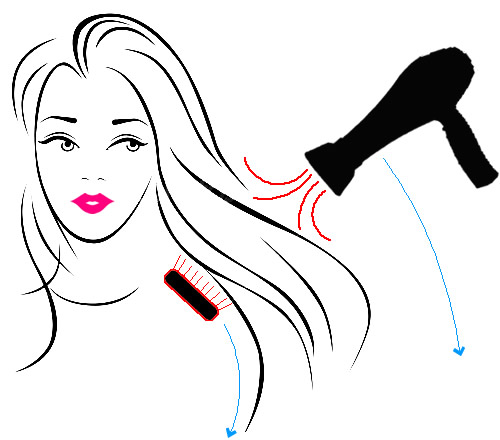 Blow Drying with a Paddle Brush