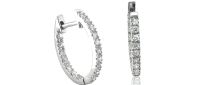 Diamond Delight 14k White Gold Inside-Out Hoop Huggies Diamond Earrings