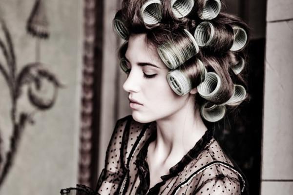 Rollers in Hair