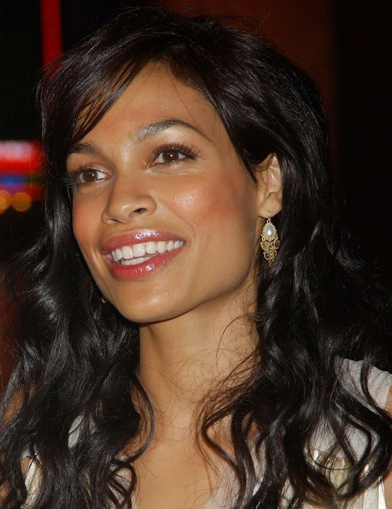 Rosario Dawson With Side Swept Bangs