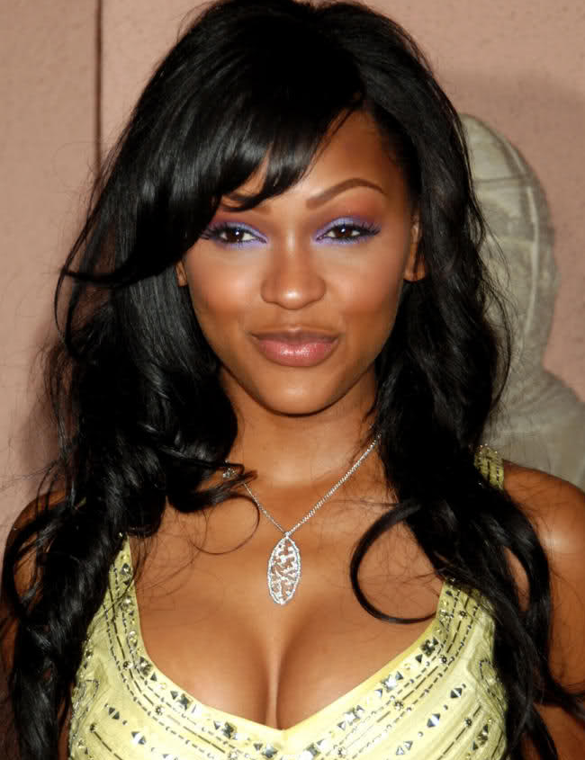 Meagan Good with Side Swept Bangs