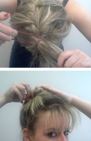 Upside Down French Braid Step 3