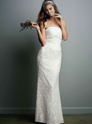 David's Bridal Allover Beaded Lace Sheath Gown with Empire Waist. Style S8551