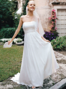 Chiffon Soft Gown with Beaded Lace on Empire Waist Style V9743