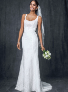 David's Bridal All Over Lace Tank Gown with Illusion Back Style MK3535