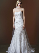 David's Bridal Metallic Lace Gown with Crystal Stone Detailing Style SWG574