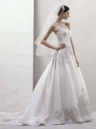 David's Bridal Mikado Ball Gown with Beaded Appliques Style CWG436