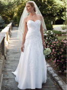 David's Bridal Petite Satin Gown with Lace and Beaded Appliques