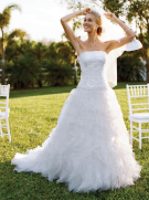 David's Bridal Tulle and Organza Ball Gown with Beaded Lace Style NTCH515