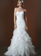 David's Bridal Wedding Gown with Lace Appliques and Ruffled Skirt Style SWG560