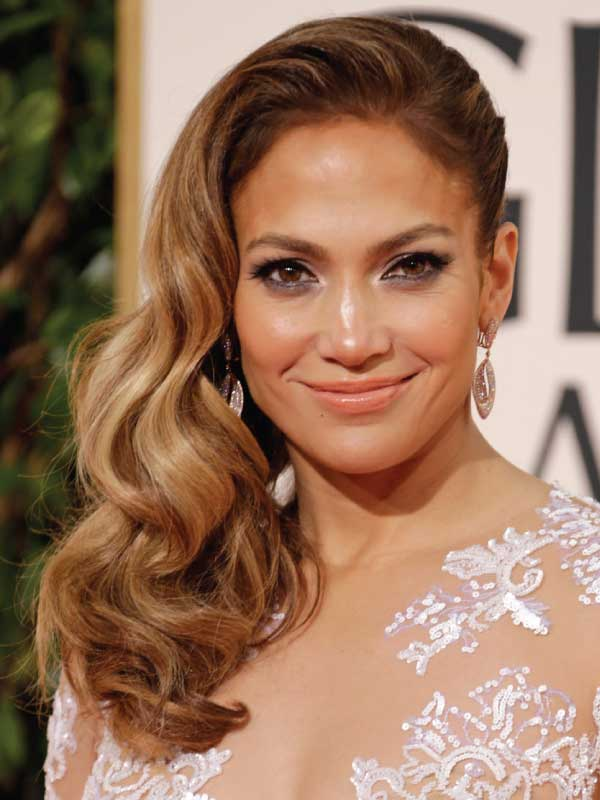 Jennifer Lopez with a Glamorous Side Part Hairstyle