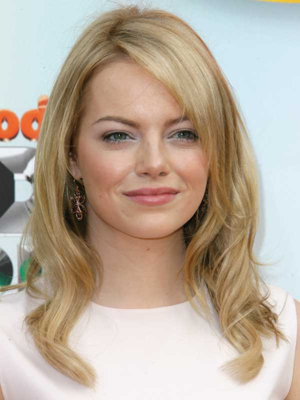 Emma Stone with a Classic Side Part Hairstyle