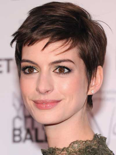 Anne Hathaway with a Choppy Pixie