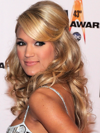 Carrie Underwood with Curly Hair Half-Up Half-Down