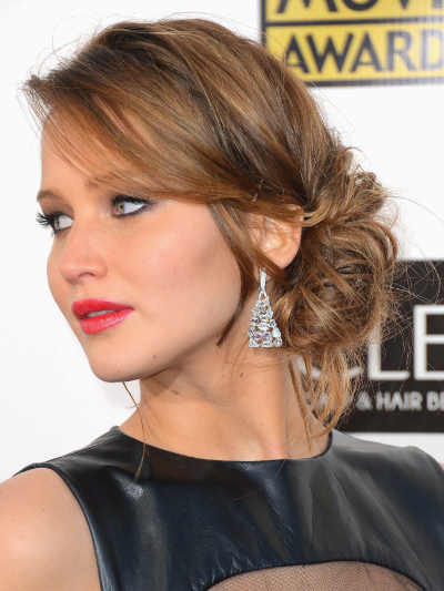 Jennifer Lawrence with a Curly Loose Bun