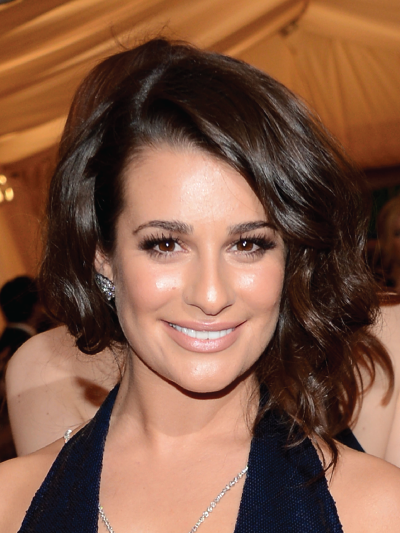 Lea Michele with a Curly Faux Bob