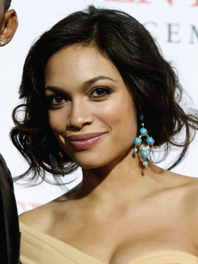 Rosario Dawson with a Curly Faux Bob